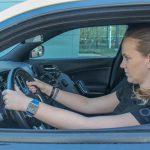 Participant puts hands on wheel